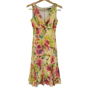 Lauren Ralph Lauren Silk Floral Fit Flare Dress 6